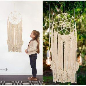 UO Leaf and Canvas Macrame Wall Hanging Decor